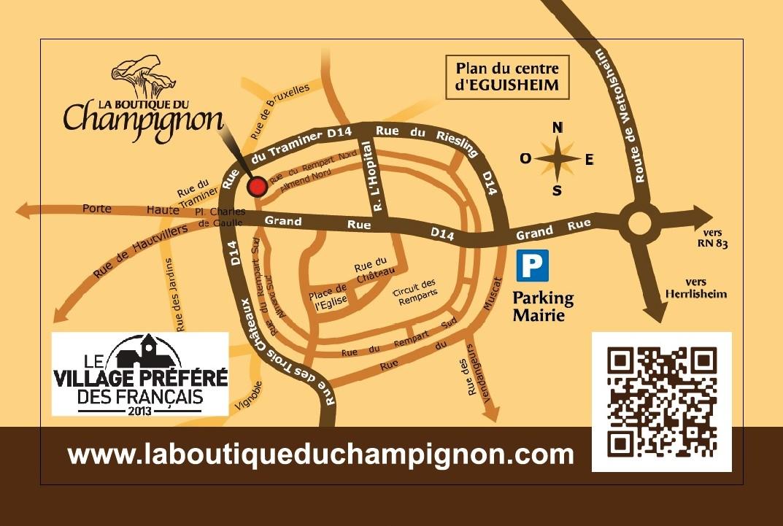Plan Eguisheim - Localisation Boutique du Champignon - Carte de Visite